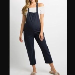 Navy Linen Side Pocket Overalls